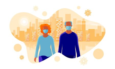 Elderly person man and woman wearing protection medical face mask to protect virus, flu, air pollution, contamination. Old couple with orange city skyline. Isolated bubble vector illustration on white