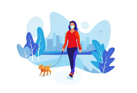 Young woman wearing face mask with little dog walking in city park nature enjoying free time alone. New normal social distancing solo outdoor activity trail with furry companion. Vector illustration.