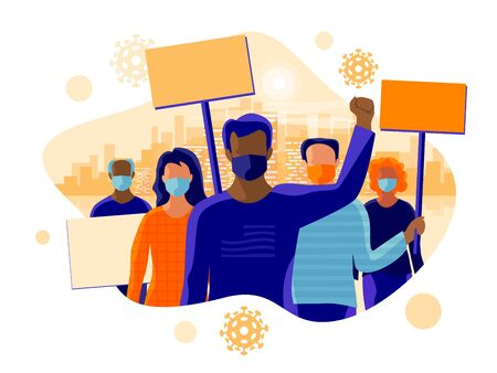 Group of people protesters protesting and wearing face mask to prevent covid virus, disease, flu, air pollution. Old young black man woman holding banner boards. Vector illustration with city skyline.