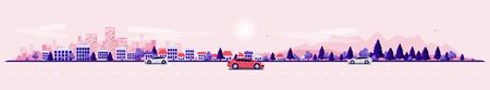 Empty road traffic in urban landscape street with cars, city skyline office buildings, family houses in town and mountain with trees in background. Pink violet flat vector cartoon style illustration.