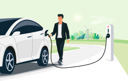 Man charging electric car on city street skyline. Illustration battery EV vehicle plugged in electricity from sustainable renewable power generations solar panel, wind turbine. Vehicle being charged.