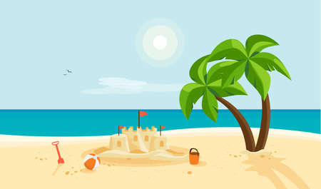 Lonely sand castle on sandy beach with palm tree and blue sea ocean coast line. Clear summer sunny sky in background. Kid toys left near sandcastle on holiday. Cartoon style flat vector illustration. Çizim