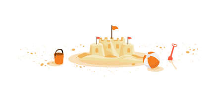 Isolated yellow summer sand castle with children toys bucket shovel ball left on sand grain. Minimalist cartoon style flat vector illustration on white background.