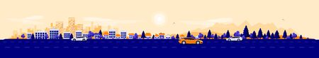Empty road traffic in urban landscape street with cars, city skyline office buildings, family houses in town and mountain with trees in background. Orange blue flat vector cartoon style illustration.