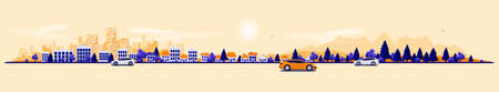 City road traffic in urban landscape street with cars, city skyline office buildings, family houses in town and mountain with trees in background. Orange blue flat vector cartoon style illustration.