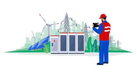 Isolated electrician technician engineer diagnostics electricity power supply grid transmission. Person inspection production facility. Renewable solar panel wind energy plant with battery storage.
