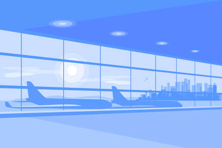 Empty airport terminal gate waiting hall in perspective view. Modern departure interior with big window, airplanes, city skyline in background. Blue mood concept vector graphic element illustration.