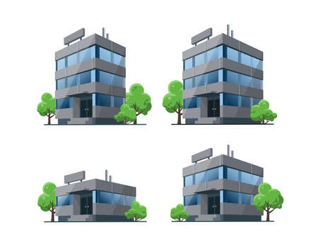 Set of modern office vector building illustrations icons in 3d perspective view with blue glass facade reflections. House, urban shop with green trees in cartoon style. Isolated on white background. Çizim