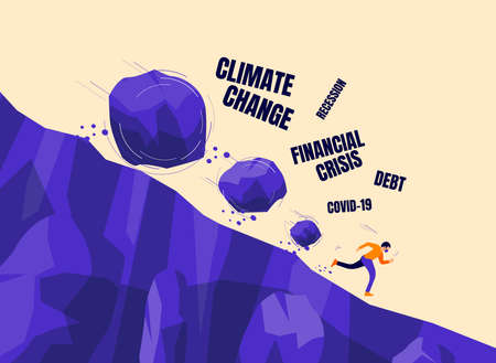 Boulder rocks crisis rolling down on a run away man with face mask from steep mountain hill slope. Covid, coronavirus, financial recession, climate change. Vector concept personal bankruptcy problem.