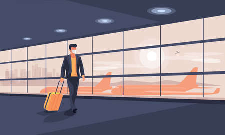 Lonely business man traveler wearing face mask with luggage walking at empty airport gate terminal lounge traveling during pandemic outbreak. Airplanes behind glass window with city skyline sunset. Çizim