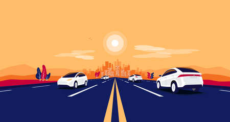 Car traffic on the road panoramic perspective horizon vanishing point view. Flat vector cartoon style illustration urban landscape vehicle motorway, skyline city buildings and highway going to city.