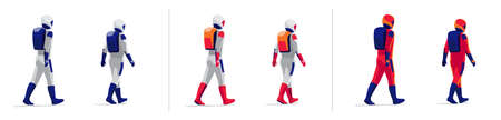 Rear view astronauts explorer walking on white background. Future moon mars red planet exploration mission crew. Starman in modern design style space suit with helmet. Isolated vector illustration.