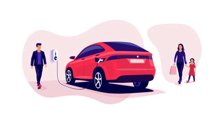 Electric car charging in underground basement garage store on charger station. Battery vehicle standing on parking lot connected to wall box. Vector illustration. Young family shopping while charging.