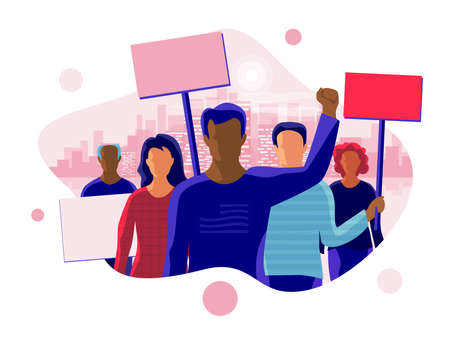 Group of people men women protesters standing together and protesting. Activists holding blank banner boards. People taking part in parade or rally. Flat vector cartoon illustration with city skyline.
