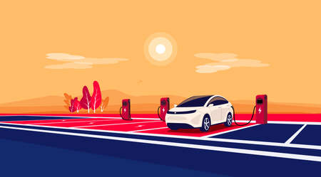 Modern electric car charging on empty charger station at highway road rest area. Battery vehicle standing on dedicated parking lot landscape. Vector illustration in cartoon style. Long distance travel