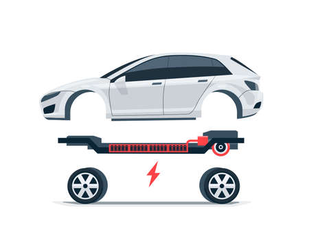 Modern electric car batteries platform board scheme with bodywork wheels. Electrical skateboard chassis components battery pack, electric motor powertrain, controller. Isolated vector illustration. Çizim