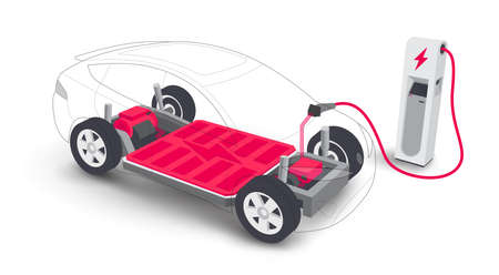 Electric car charging battery modular platform board scheme charger station. Electric skateboard module chassis components battery pack, motor powertrain, controller. Isolated vector illustration.