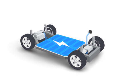 Modern electric car battery modular platform board scheme with bodywork wheels. Electric skateboard module chassis components battery pack, motor powertrain, controller. Isolated vector illustration.