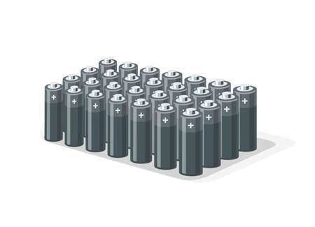 Battery pack with tube rechargeable cells. Module part of electric car modular platform board inside chassis component. Isolated vector illustration on white. Lithium ion accumulator cylinder pile.