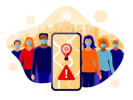 Smartphone health tracking location app with people wearing protection face mask to prevent covid coronavirus, disease, flu. Group person standing in city. Map location contact tracing mobile phone. Ilustración de vector
