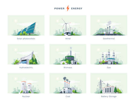 Electricity generation source types. Energy mix solar, water, fossil, wind, nuclear, coal, gas, biomass, geothermal and battery storage. Natural renewable pollution power plants station resources.