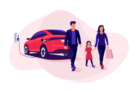 Young family shopping while electric car is charging on parking spot near store shop on charger wallbox station. Battery vehicle standing on parking lot connected to wall box. Vector illustration.