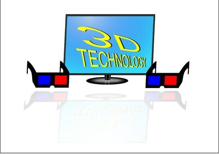 cold room: 3d tv technology Illustration