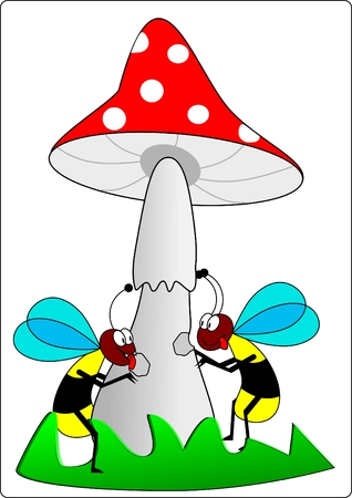 Wasps and toadstool Vector