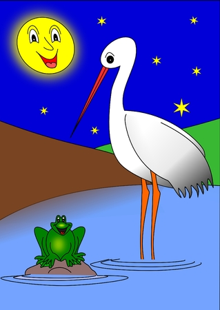 bulrush: Stork and frog