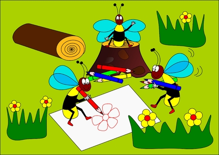 Wasps painters Vector