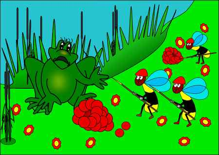 red eyed tree frog: Frog and wasps soldiers