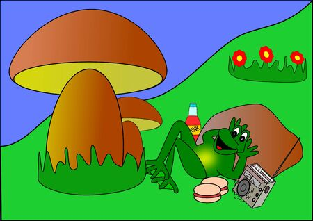 Frog on a picnic