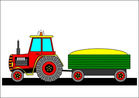 Tractor and tow Vector