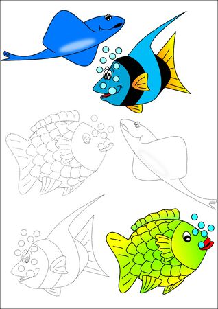 goldfish jump: Coloring book-fish
