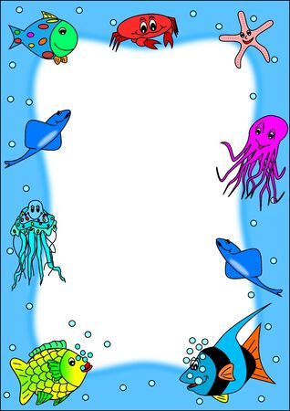 Frame with fishes  Vector