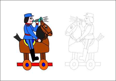 Coloring book-horse and soldier Vector