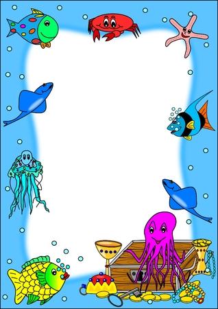Image avec les poissons et les trésors de pirate