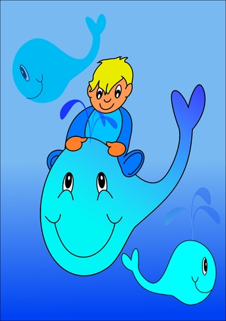 Baby and whale Vector