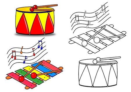 Coloring Book-Musical Instruments Vector