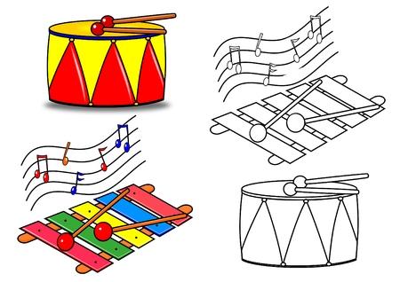 drums: Instrumentos de Musical de libro para colorear
