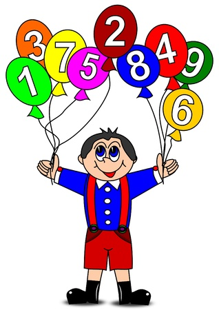 Boy and colorful inflatable balls with numbers  Иллюстрация