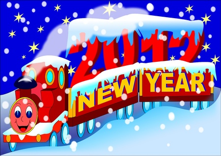 New Year Train 2012  Stock Vector - 11657224