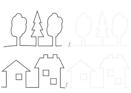 Los árboles Y Las Casas-para Colorear Ilustraciones Vectoriales ...