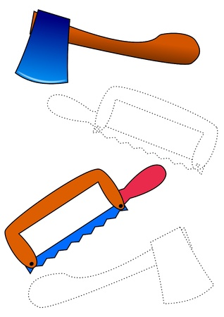 Saw and ax coloring  Vector