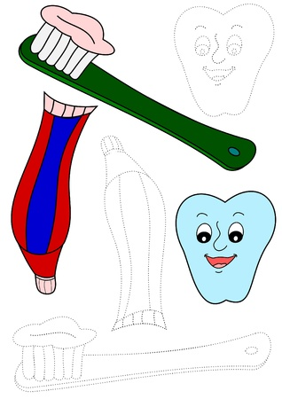 Toothbrush, toothpaste and tooth - coloring book Stock Vector - 11657982