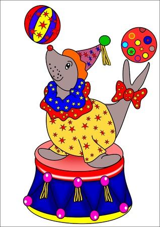 circus animals: Sea Lion y las bolas
