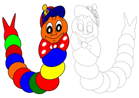 apple worm: Coloring book-caterpillar