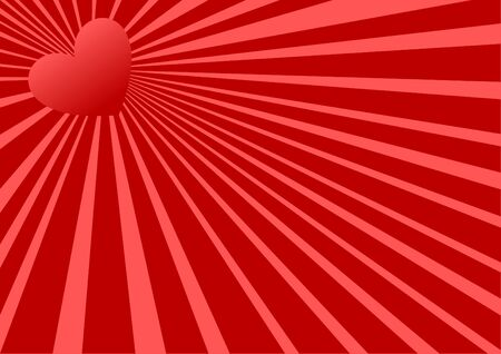 Red heart background illustration / valentine's day.  Vector