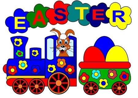 イースターのウサギと鉄道