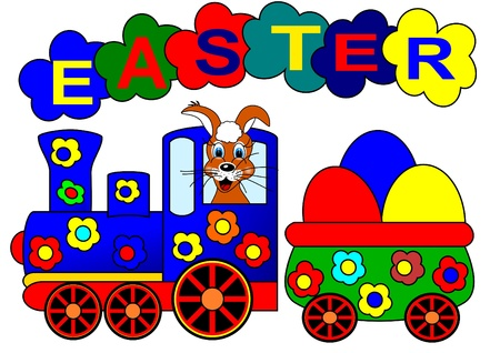 Easter bunny and train 일러스트